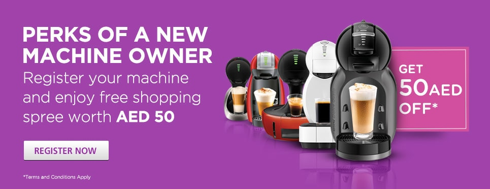 Register NESCAFÉ® Dolce Gusto® machine to get AED 75 off