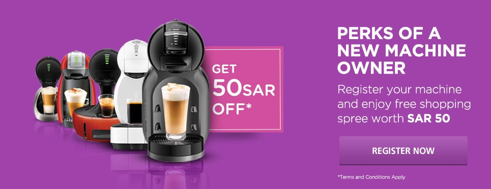 Register NESCAFÉ® Dolce Gusto® machine to get SAR 75 off